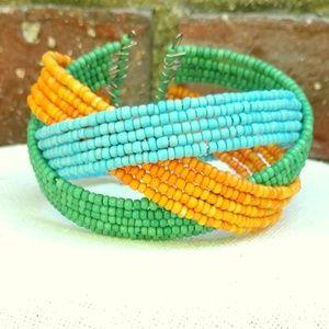 Jewelry - Blue, orange and green seed bead bracelet